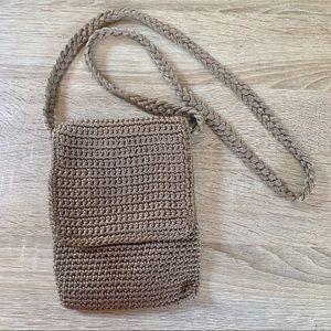 The Sak Boho Crochet Knit Brown Crossbody Bag